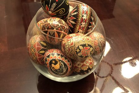 Decorative Hand Painted Eggs W/Glass Bowl